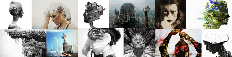 Artistic black and white and color double exposure images taken by famous world photographers