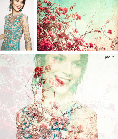 A beautiful double exposure image where pink and blue floral photo merged with a face portrait of attractive smiling woman
