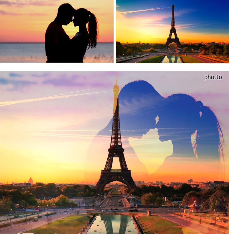 A double exposure effect was used to blend a silhouette photo of a kissing couple and a beautiful scenery of sunset in Paris with Eiffel Tower