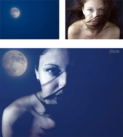 A double exposure technique was used to create a surreal photo portrait of young beautiful flying witch under the full moon