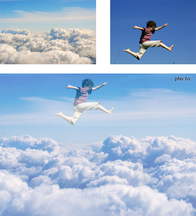 A double exposure effect used to create a photo of boy jumping higher than clouds