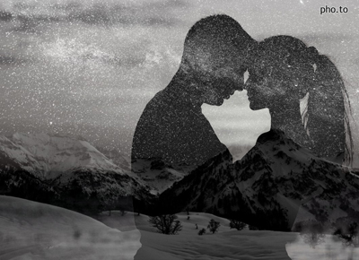A double exposure effect used to create a black and white photo wherein an image with night sky and stars is merged with a romantic silhouette photo