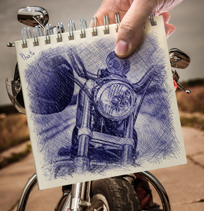 Turn part of a photo into a stylish ballpoint drawing
