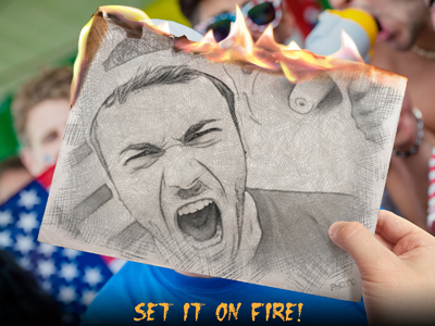 Don't hide your emotion: set them on fire with the burning sketch effect