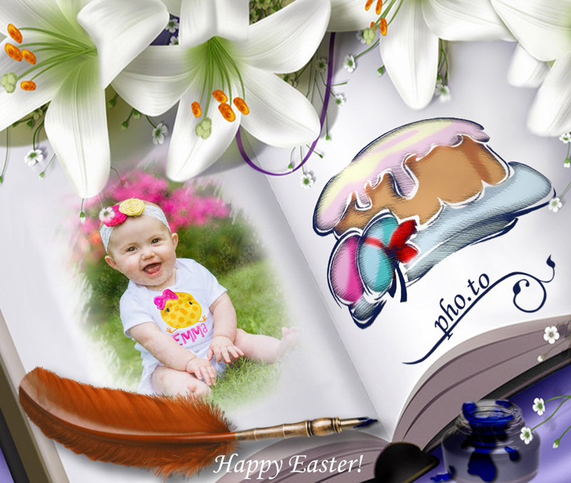 An DIY Easter photo card with colored egg and Easter cake drawn on an album