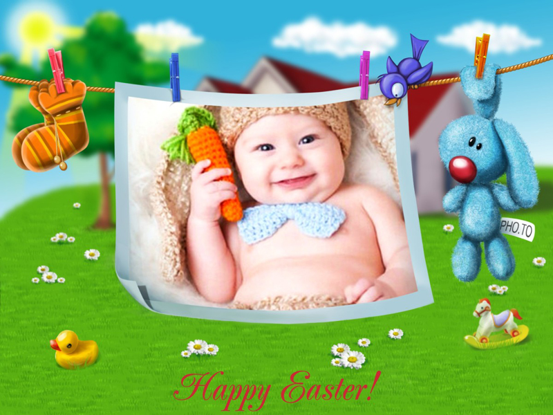 Easter frame with holiday cartoon bunny for kids