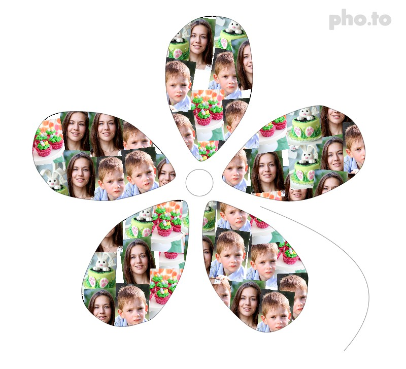 Make an Easter collage in the form of a flower from holiday photos