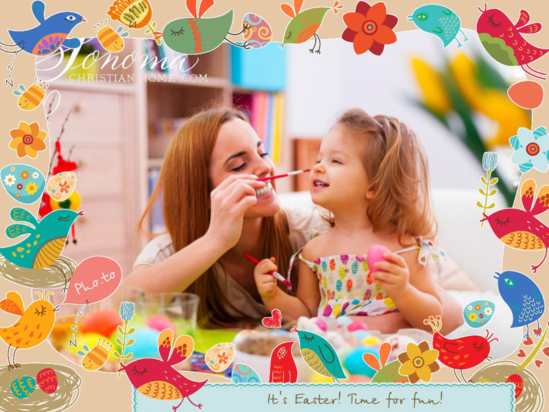 Easter photo frame with colored eggs and spring birds signing