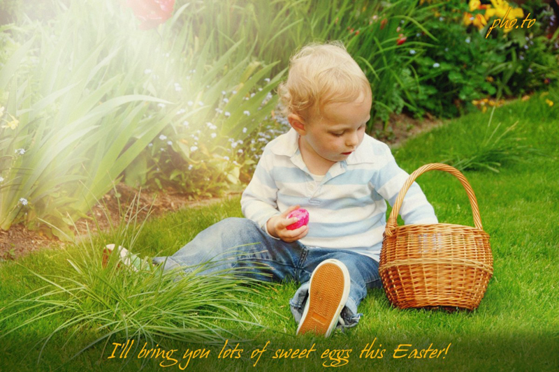 Add sun rays to Easter hunt photos and send them to your granny as Easter cards