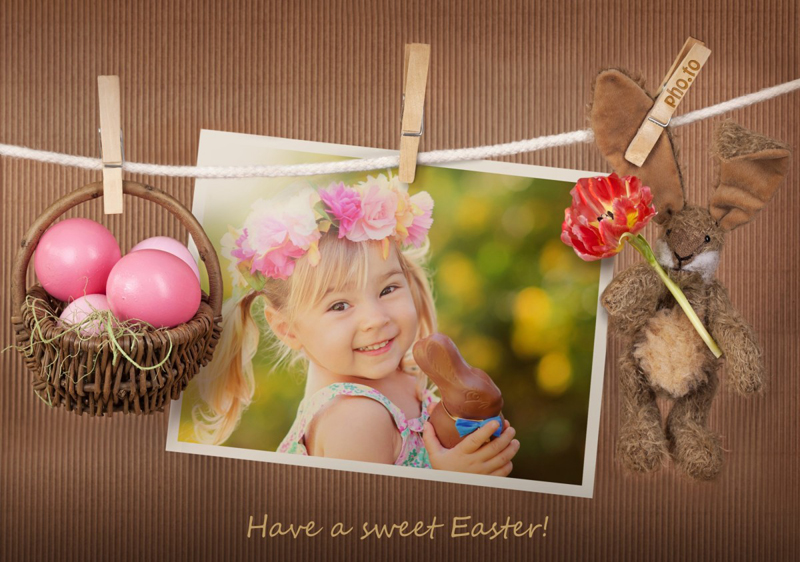 Cute Easter frame with bunny toy and a basket of colored eggs