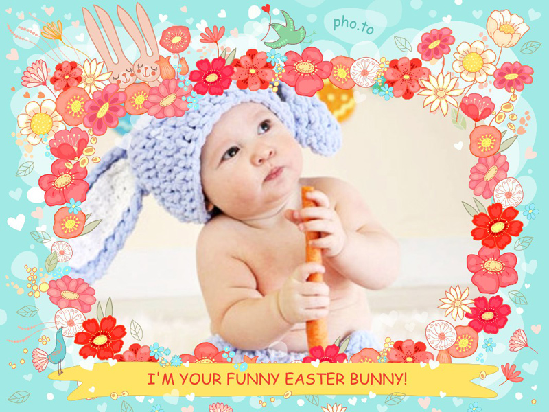Love Easter frame with flowers and cartoon rabbits