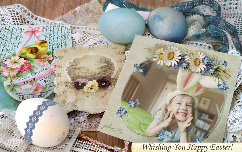 A traditional Easter photo card with vintage adornments
