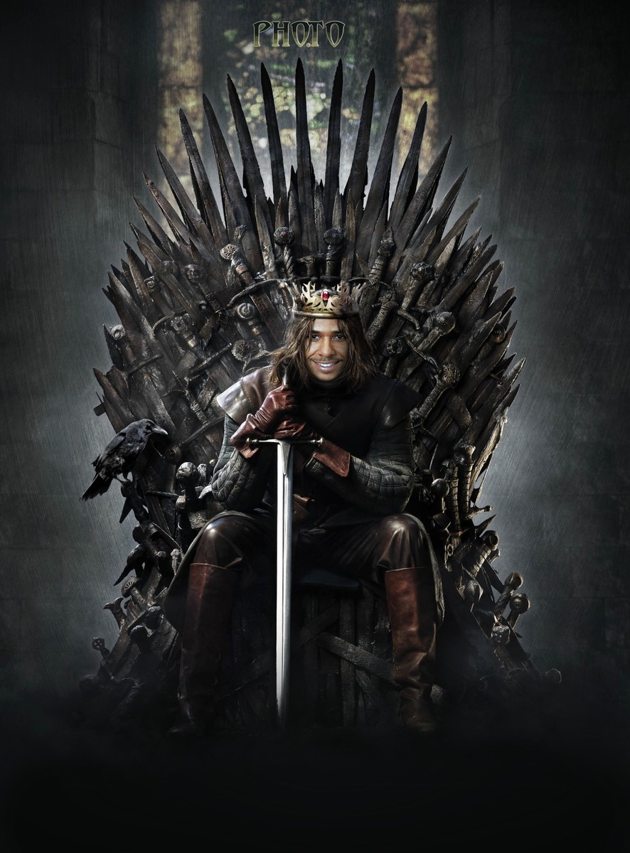 The Game of Thrones face in hole template is used to turn a guy into a king of Westeros and let him sit on the Iron Throne
