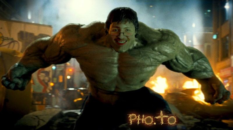 A Hulk template is used to make a face in hole image with a young guy