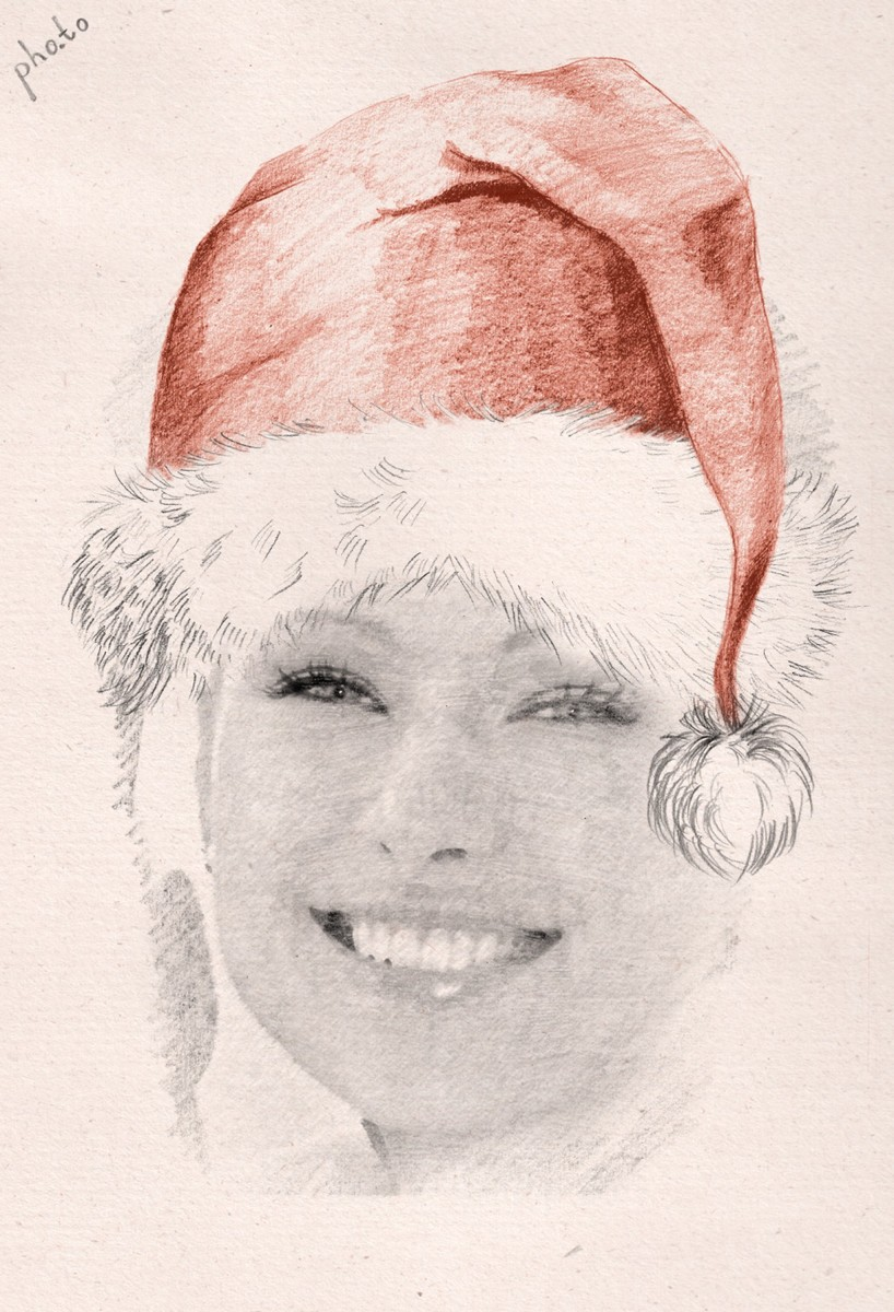 This face in hole template can turn your face photo into a sketchy painting with Santa hat