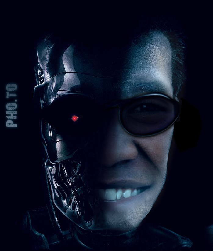 The Terminator movie template is applied to make a face in hole image with a guy