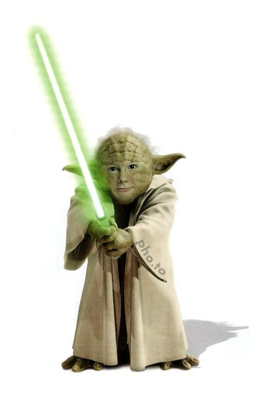 A Star Wars template is applied to a photo of a young boy to make a face in hole image of Jedi Yoda