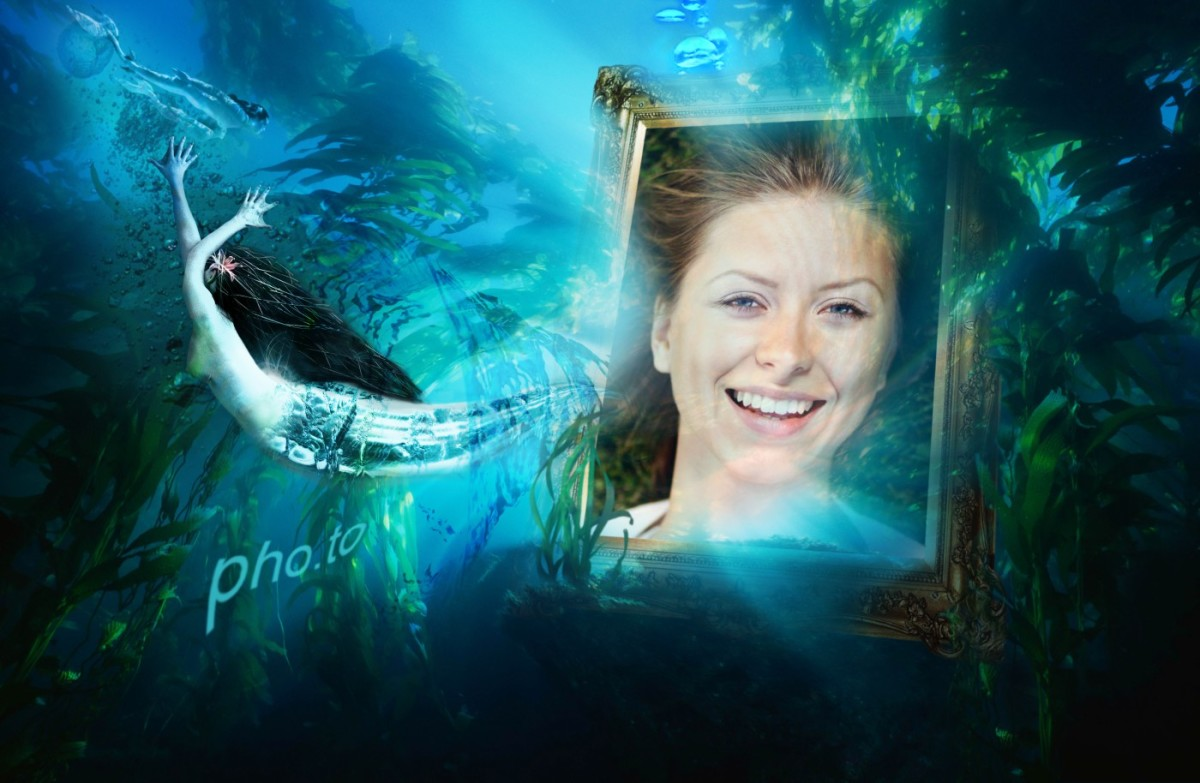 A fantasy style photo frame where a portrait photo lies underwater surrounded by mermaids