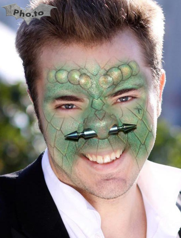 Become a homo-reptile from Doctor Who with this face transformation photo template