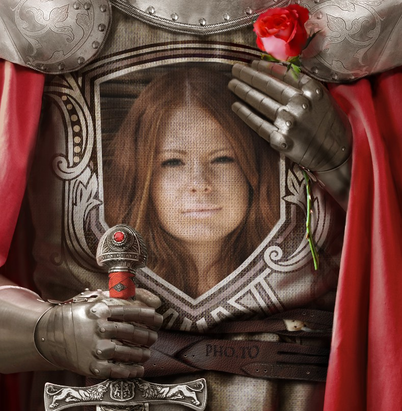 Make a romantic love card where you are a knight holding a portrait of his beloved one painted on the battle shield