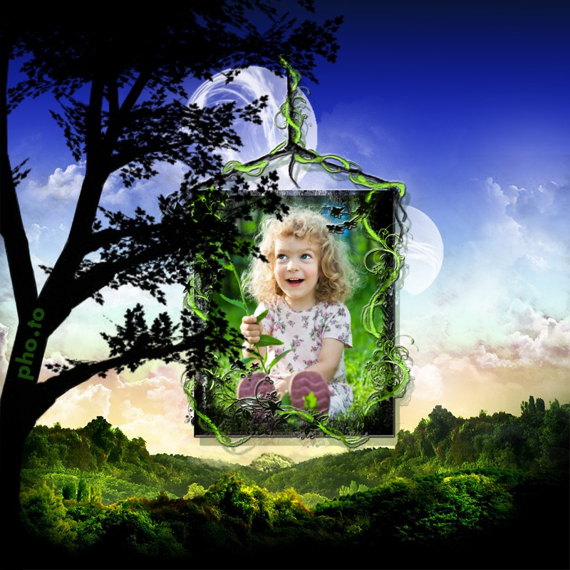 Magical photo frame with green nature is added to a photo of a little cute girl