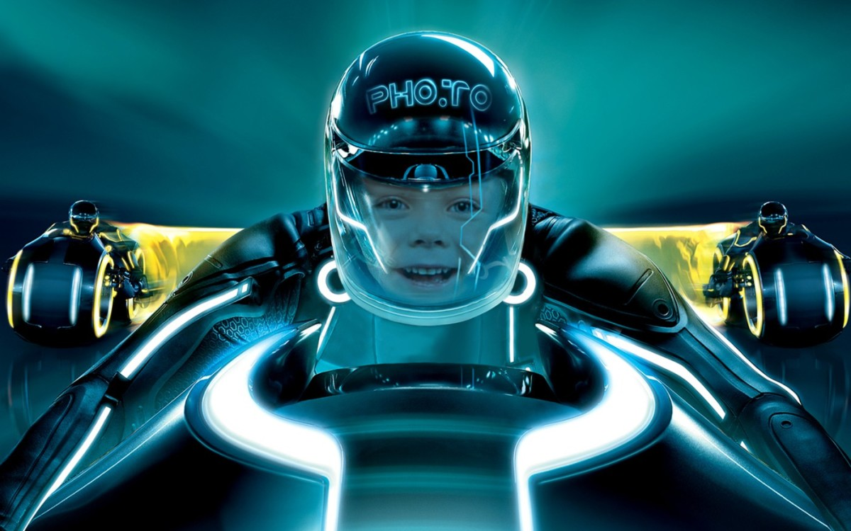 Drive a bike from the Tron movie with this face in hole photo montage' photos