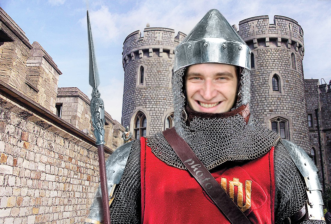 Become a medieval knight in full armor protecting his castle with this warrior face in hole photo template