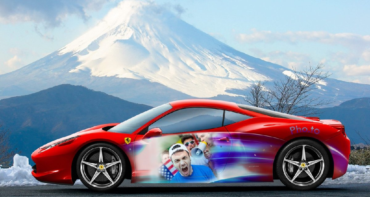 Using a Ferrari template to add father's face to the car as aerography