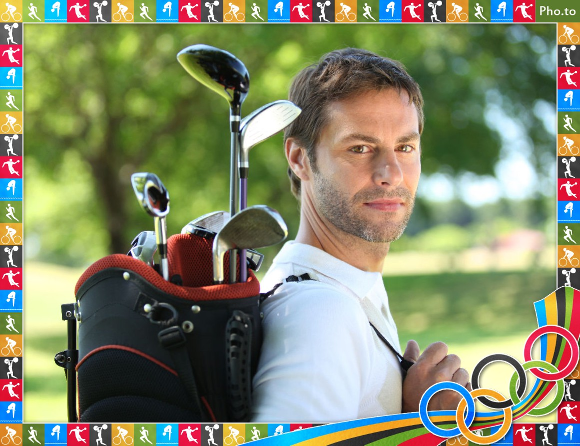 Father's day e-card with father's photo framed with Olympic symbols