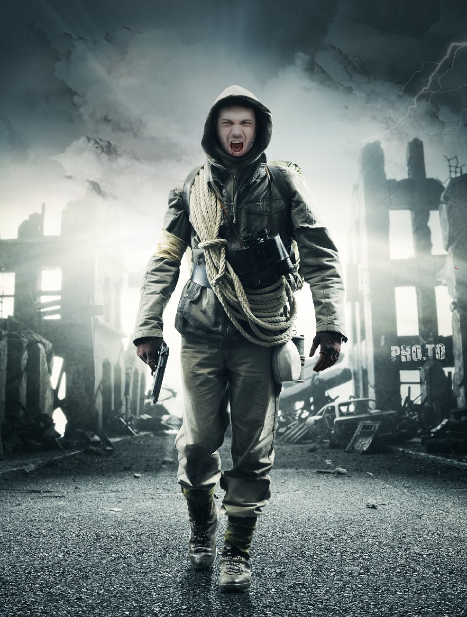Father's photo edited as if he were an Apocalypse survival
