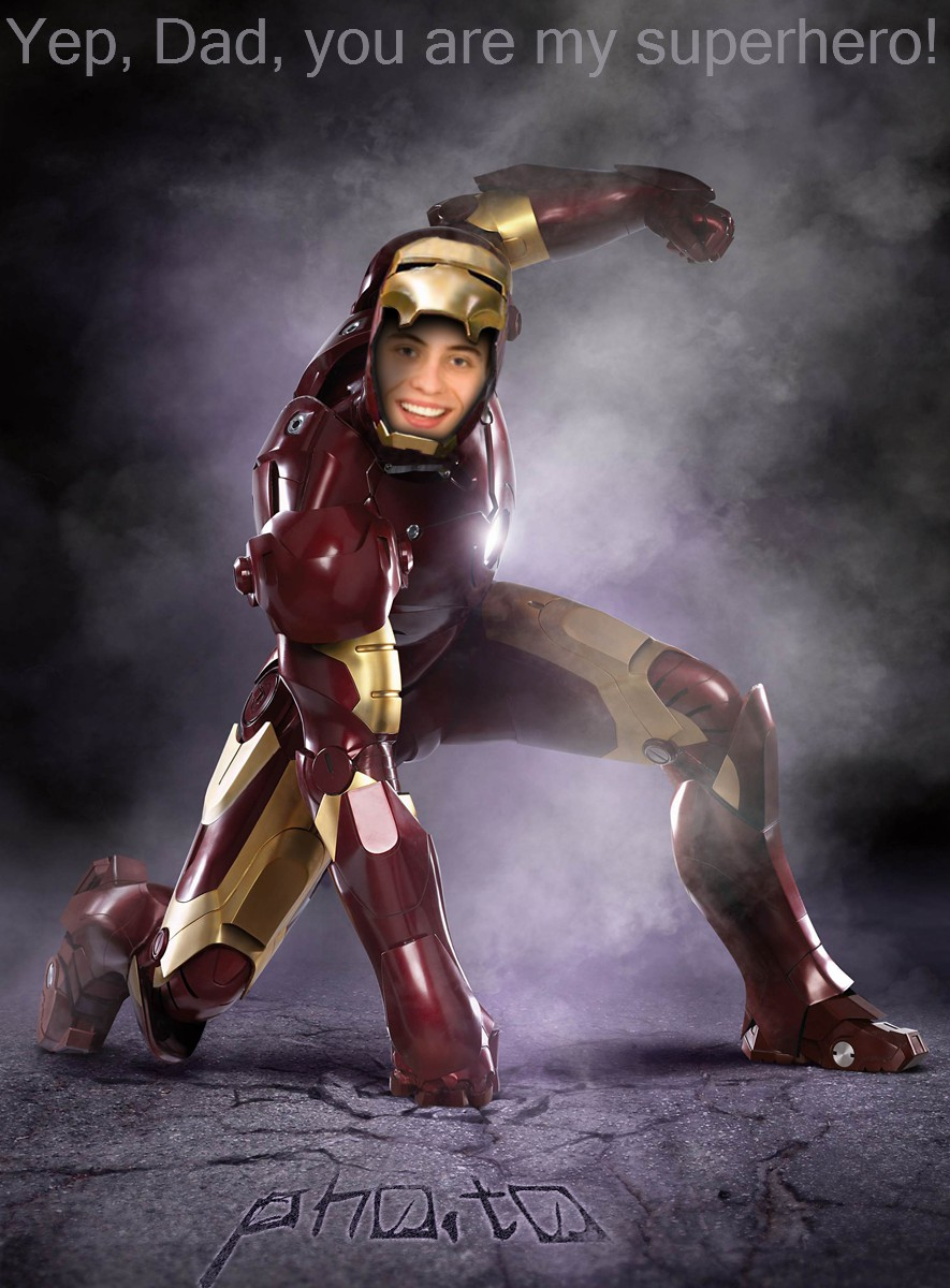 Father's photo edited as if he were an Ironman