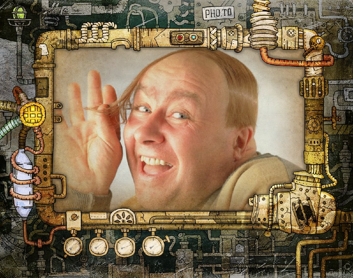 A funny portrait of a father placed into a stylish steampunk photoframe