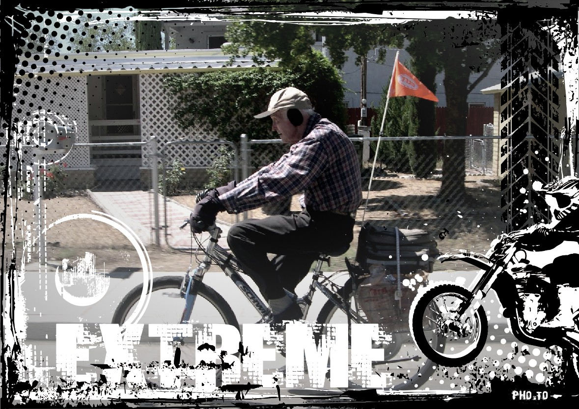 Aged father is driving a bike, photo framed with stylish motobike frame