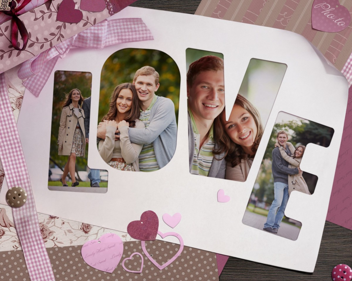 Love greeting card with LOVE letters personalized with 4 user photos