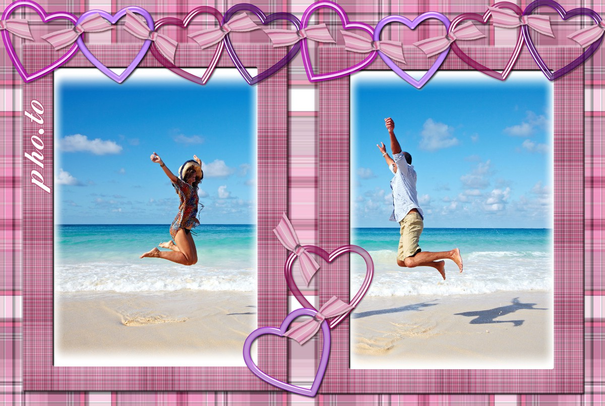 Love greeting card for St. Valentine's day made with simple couple photo frame
