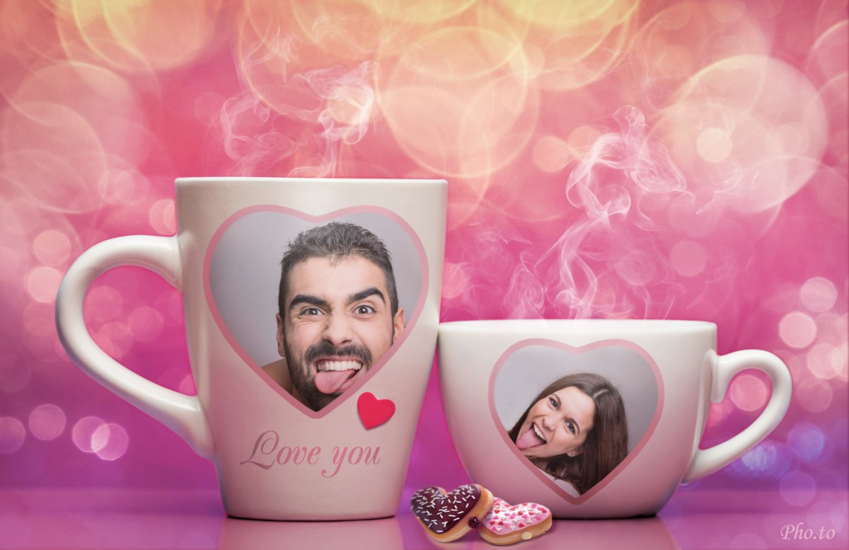 A funny Valentine card made with romantic double photo frame wherein photos of a couple placed on tea mugs