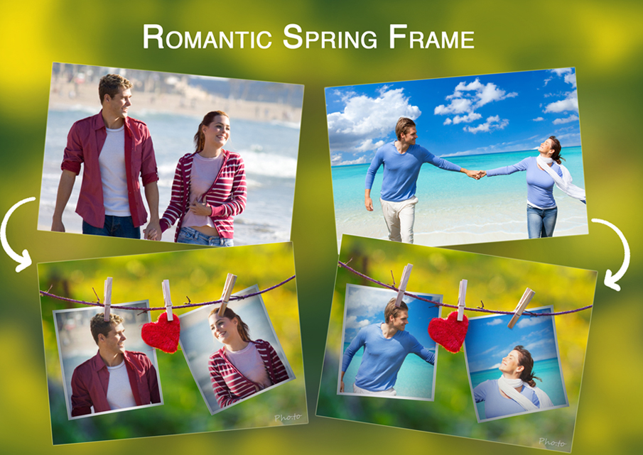 Romantic spring dual frame with photos of happy couples