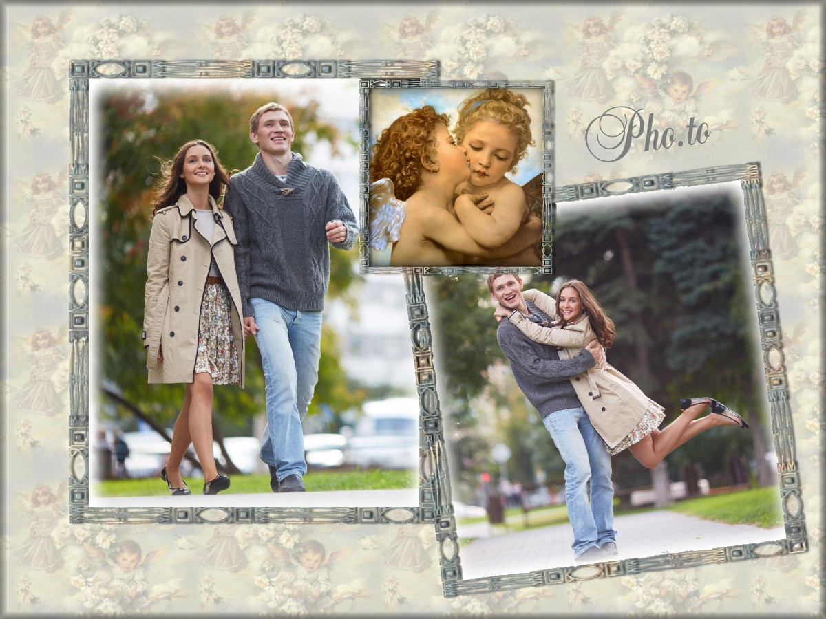 Love dual card with angels personalized with 2 user photos