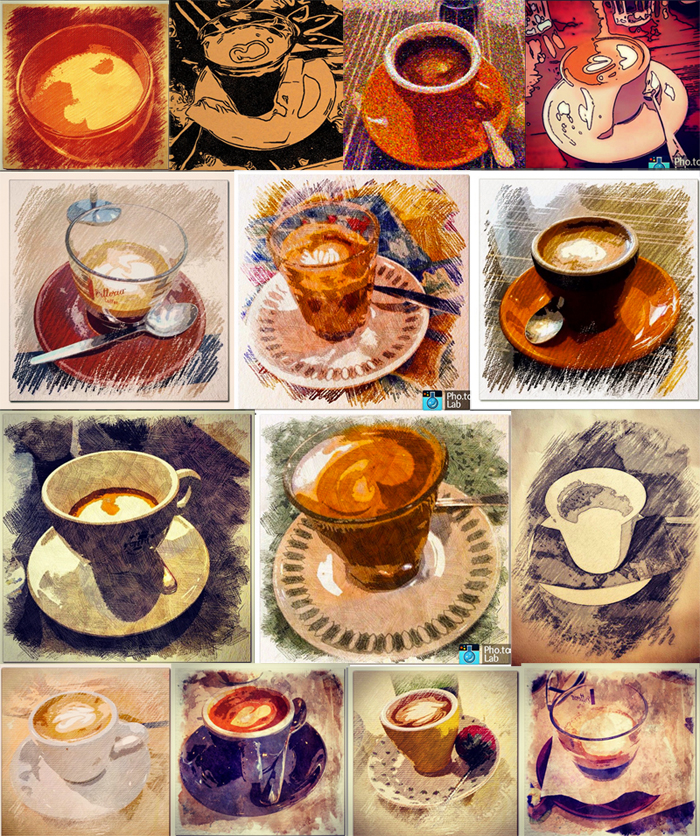 Artistic photo effects were used to design this collection of tea cups photo