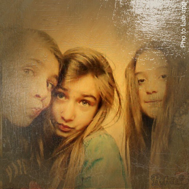 Funny selfie of three charming girls edited with artistic oil painting effect