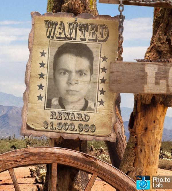Place your photo into a Wanted poster frame online and for free