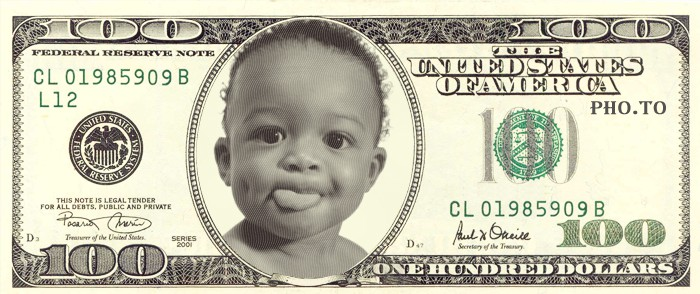 This photo template adds your face to a 100 dollar bill