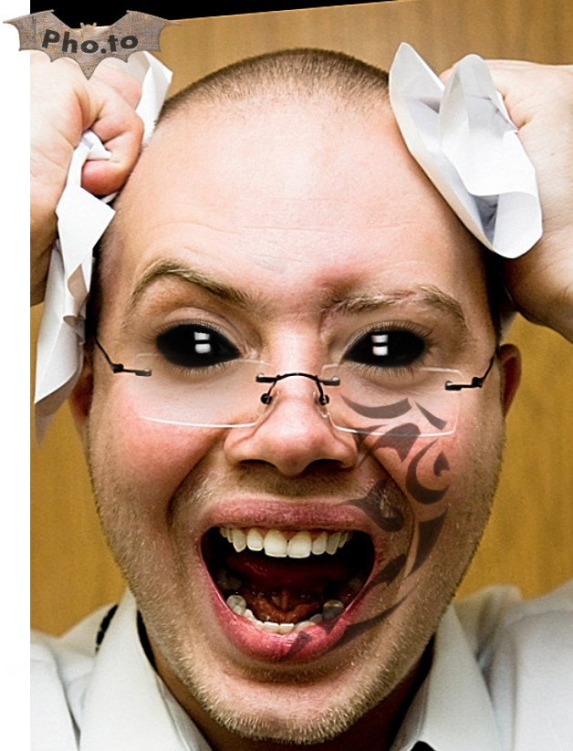 This funny and scarry Halloween photo template turns a person into an alien with black eyes and tattooed skin