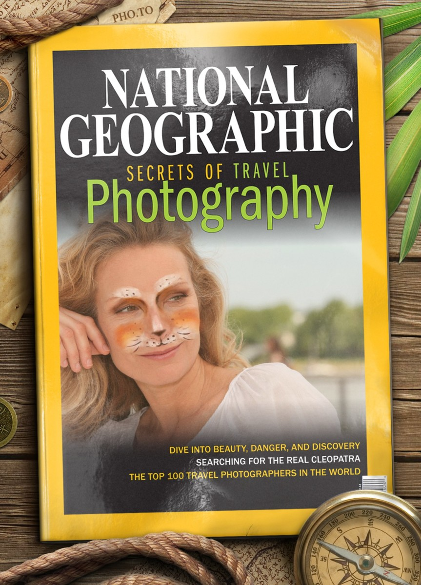 A portrait photo of attractive blonde woman was used as a cover photo with the help of a fake magazine cover template