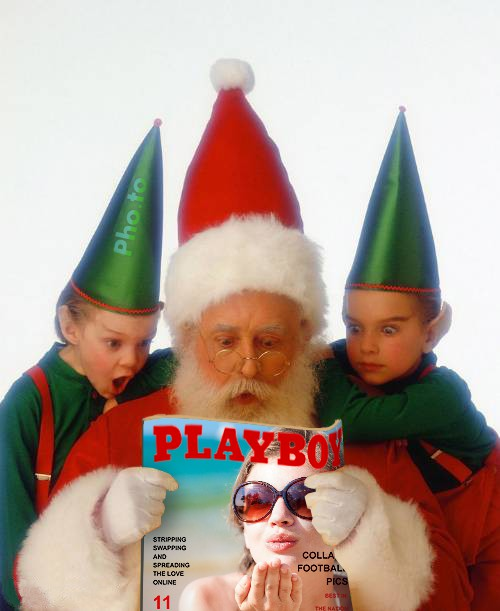 A funny photo template for girls with Santa Claus and Christmas elves looking at a fake Playboy magazine