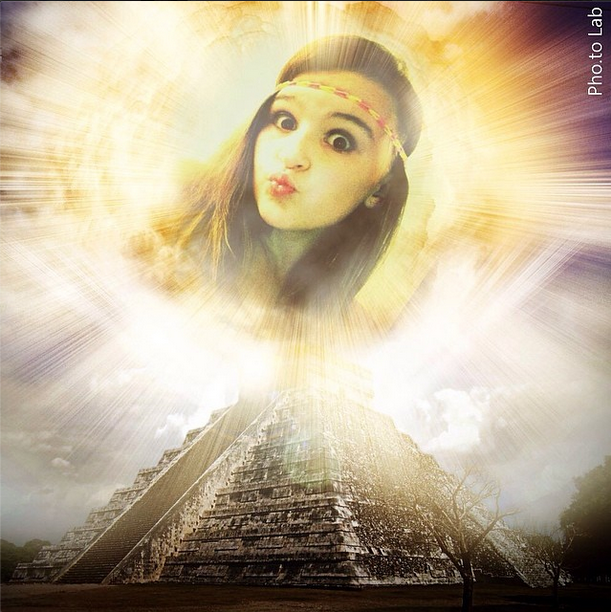 A funny realistic collage where a girl becomes a goddess of an ancient pyramid