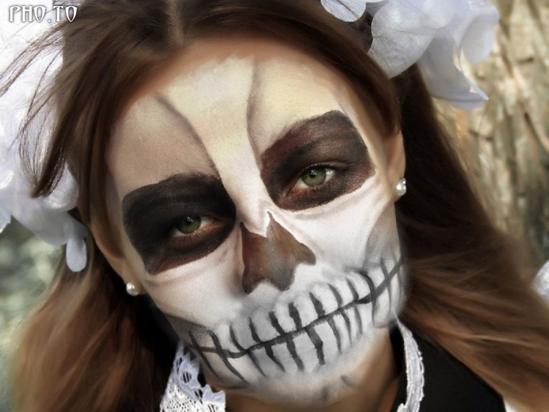 A cute and neat school girl with realistic scull makeup