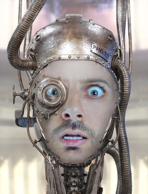 An image of steampunk robot, created of user's photo