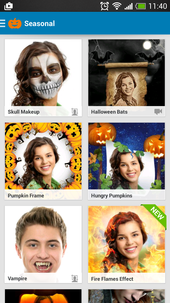 A free mobile photo editor gets a new Halloween update with 30 creepy and funny photo frames and effects