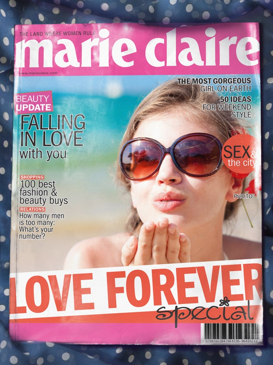 A fake Marie Clare cover with a beautiful young girl in sun glasses